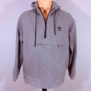 adidas Men's Ribbed Hoodie Half Zip Shirt Large